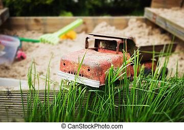 gammal, järn, leksak bil