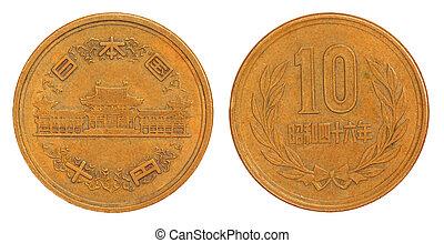 gammal, japansk, 10, yen, mynt, av, 1953