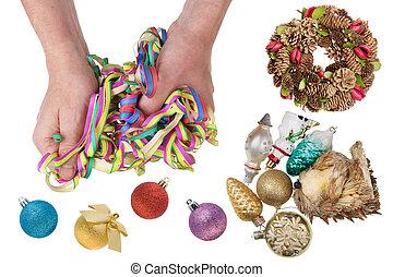 gammal, jultomten, med, hans, räcker, untangles, nytt år, papper, garland.