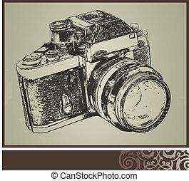 gammal, kamera