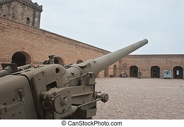 gammal, kanon, in, militär, museum