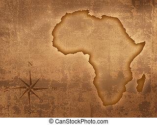 gammal, karta, afrika, stil
