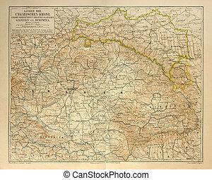 gammal, karta, av, ungerska, kejsardöme