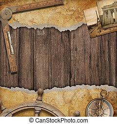 gammal, kartlagt fond, med, compass., äventyr, och, resa,...