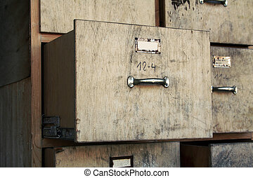 gammal, kartotek skåp