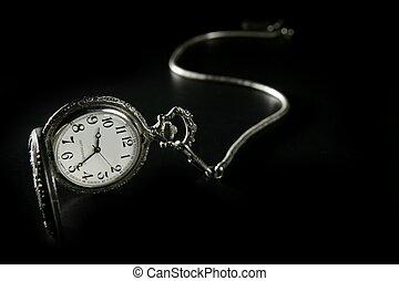 gammal, kedja, klocka, ur, ficka, silver