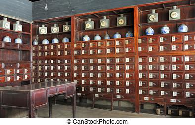 gammal, kinesisk, apotek