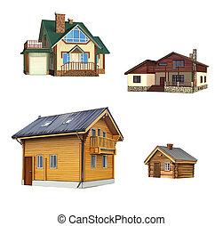 gammal, klassisk, hus, garage, amerikan, by, stuga, byggnad...
