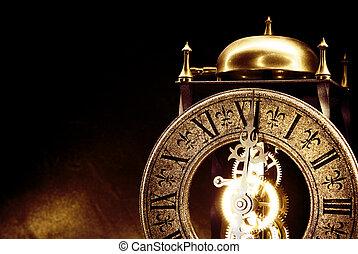 gammal, klocka, tillsluta, synhåll