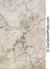 gammal, knäckt, betongvägg