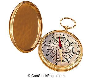 gammal, kompass, isolerat