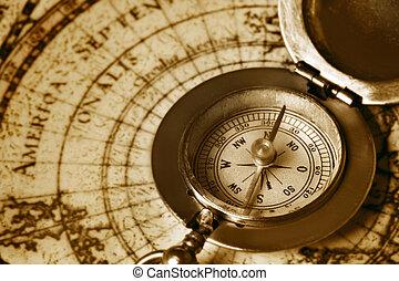 gammal, kompass, på, årgång, karta