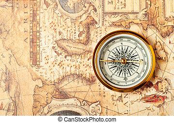 gammal, kompass, på, forntida, karta