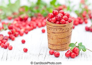 gammal, kopp, trä, makro, avbild, frisk, cowberry