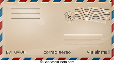 gammal, kuvert, flygpost