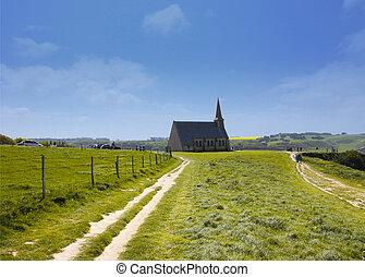 gammal kyrka, på, den, klippor, av, etretat