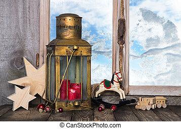 gammal, lante, nostalgisk, dekoration, toys, jul
