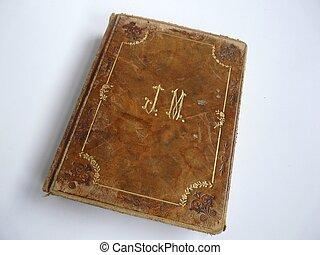 gammal, leather-bound, böcker