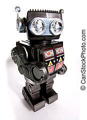 gammal leksak, konservburk, robot