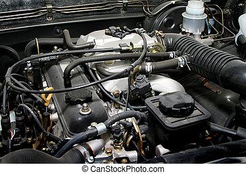 gammal, mäktig, motor