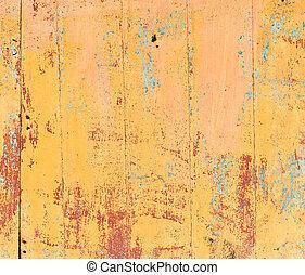 gammal, målad, struktur, bakgrund., apelsin, trä
