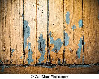gammal, målad, ved, apelsin, grunge, panel
