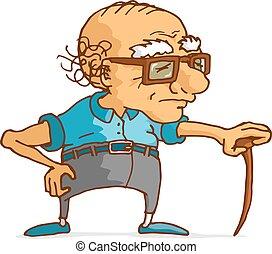 gammal man, benägenhet på, ved, rotting