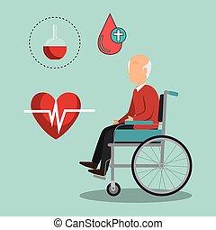 gammal man, design, sjukvård