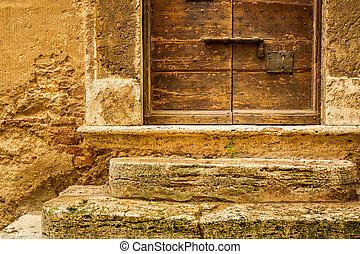 gammal, medeltida, trä vägg, bakgrund, dörr