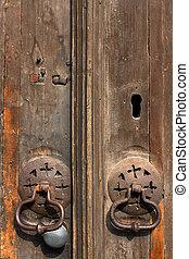 gammal, metall, dörr hantera, portklapp