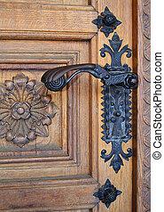 gammal, metall, door-handle