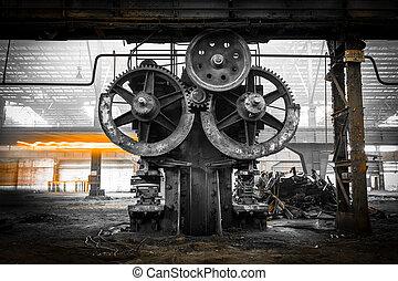 gammal, metallurgical, firma, väntan, för, a, rivning