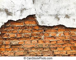 gammal, mycket, struktur, vägg, bakgrund, tegelsten