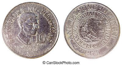 gammal, mynt, av, filippinerna