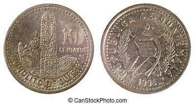 gammal, mynt, av, guatemala