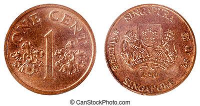 gammal, mynt, av, singapore