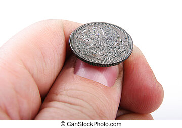gammal, mynt, in, hand