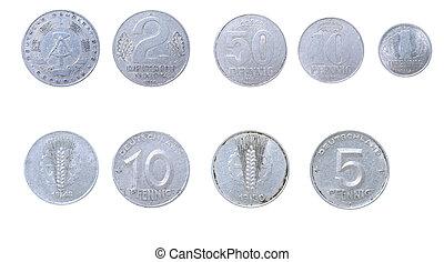 gammal, mynter, till, öster, tyskland