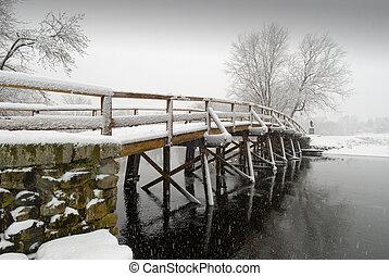 gammal, norr, bro, in, vinter