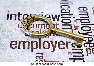 gammal, nyckel, på, arbetsgivare, text