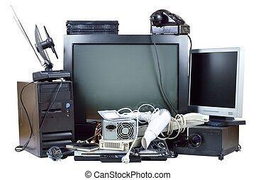 gammal, och, använd, elektrisk, hem, waste.