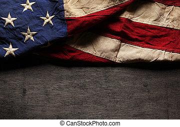 gammal, och, slitet, amerikan flagga, för, åminnelse dag,...