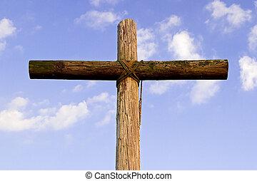gammal, ojämn, kors, och blåa, sky
