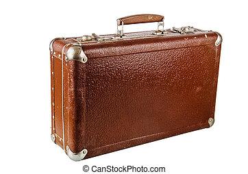 gammal, papp, resväska, isolerat, vita