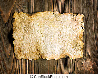 gammal, papper, ark, över, trä, bakgrund