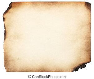 gammal, papper, bränt