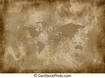gammal, papper, med, a, karta