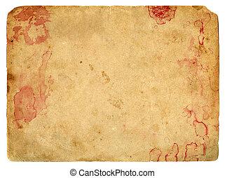 gammal, papper, med, blod, spots.