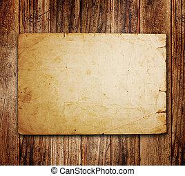 gammal, papper, på, den, ved, bakgrund