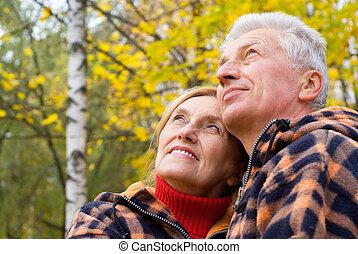 gammal, par, hos, natur